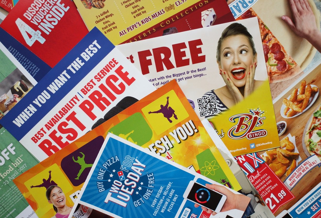 colorful postcards and other print marketing materials