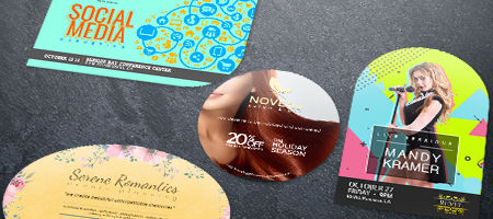 die cut flyers round corners circle oval and leaf nextdayflyers