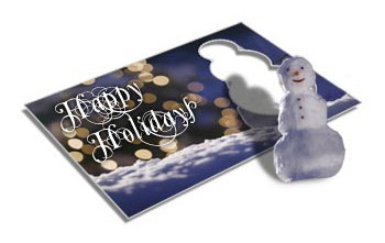 Snowman Die Cut Postcards